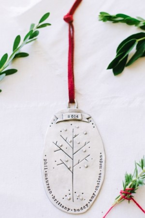 """Personalized Family Tree Ornament by Lisa Leonard. Ours says """"2014: First Family Christmas...Mark, Holley, Lovelle, David"""""""