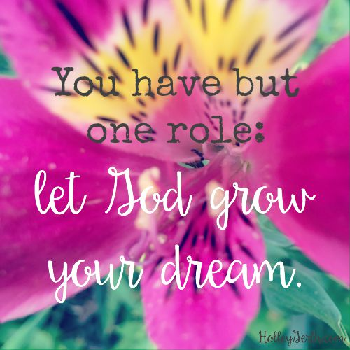 You have but one role: Let God grow the dream.