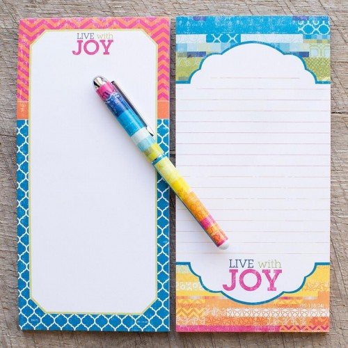 Live with Joy - Pen and Memo Pads Set