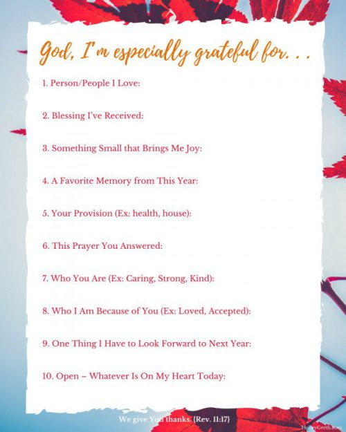 A free printable with 10 Simple Ways to Give Thanks