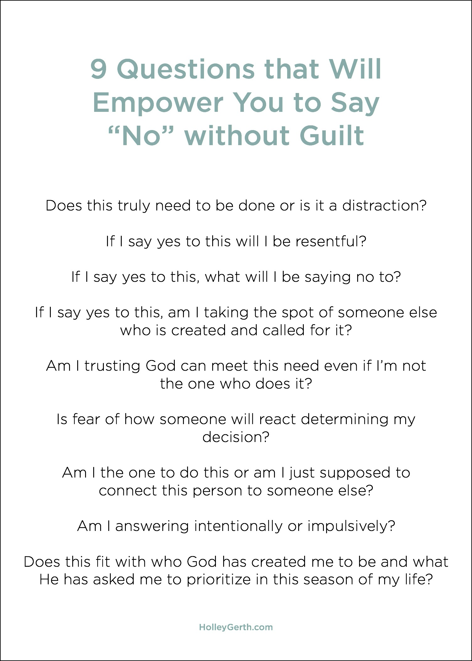 "9 questions that will empower you to say ""no"" without guilt - free printable"
